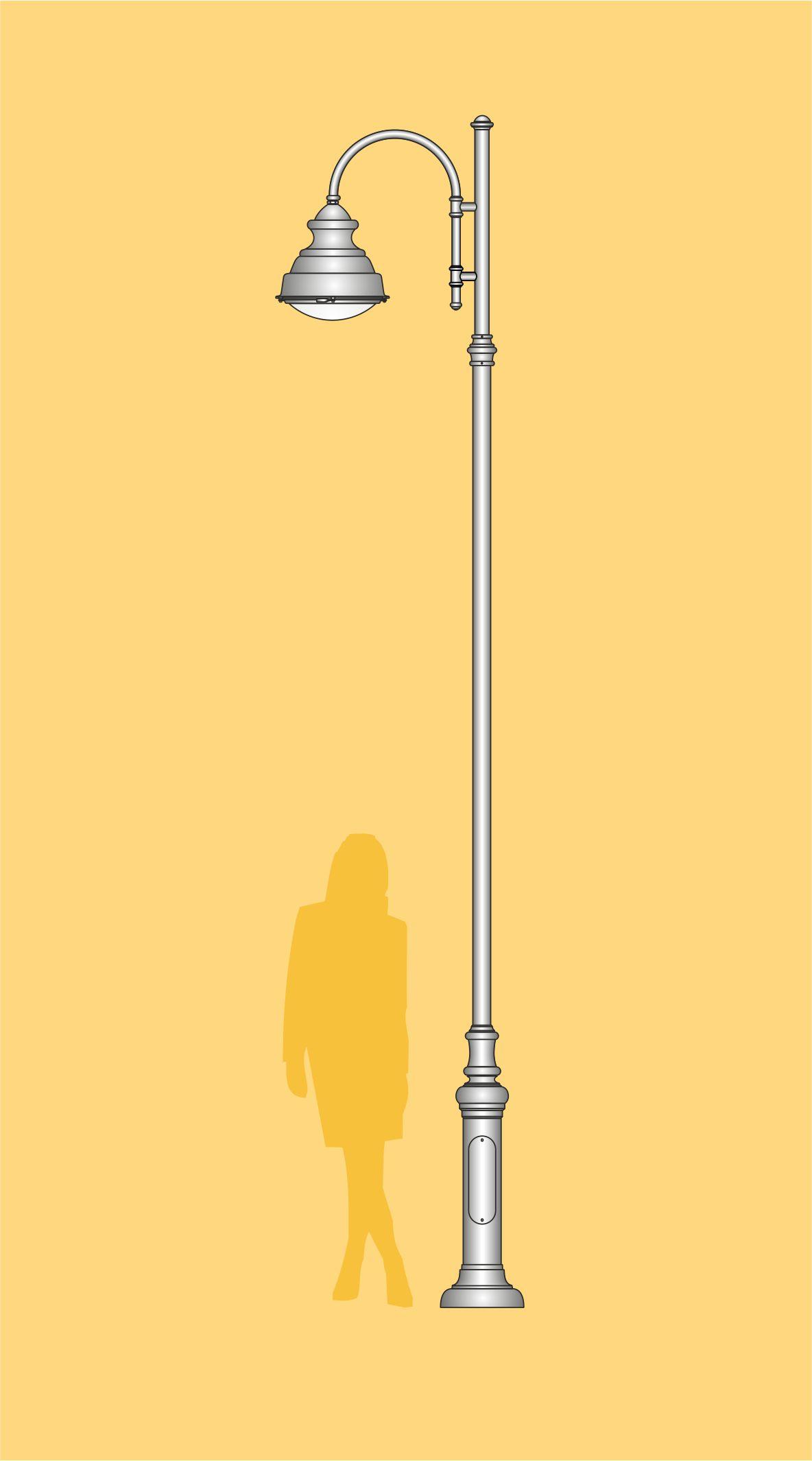 Lampa uliczna stylizowana art metal, wysokość 5 m, słup stalowy